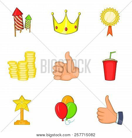 Win Payment Icons Set. Cartoon Set Of 9 Win Payment Icons For Web Isolated On White Background