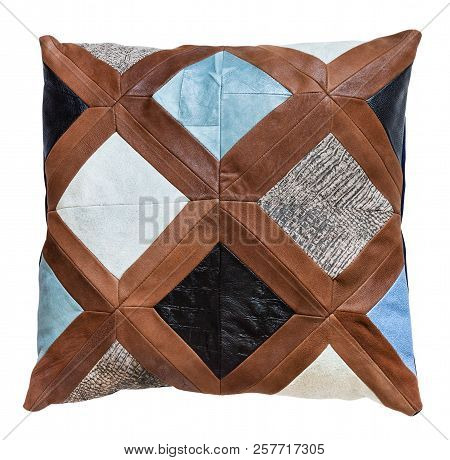 Top View Of Handmade Patchwork Leather Throw Pillow Isolated On White Background