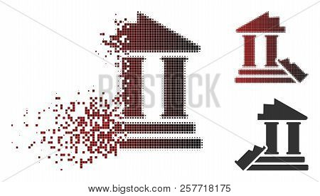 Historic Ruins Icon In Fractured, Dotted Halftone And Undamaged Solid Variants. Pixels Are Grouped I