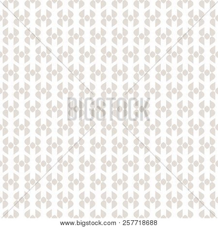 Vector Abstract Geometric Seamless Pattern. Subtle Beige And White Texture With Curved Shapes, Grid,