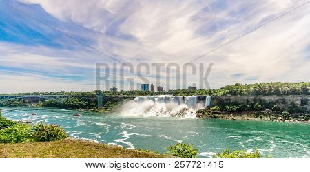Niagara Falls,canada - June 26,2018 - View At The Rainbow International Bridge Over Niagara River Wi