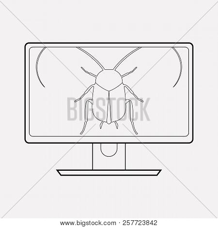 Software Bug Icon Line Element. Vector Illustration Of Software Bug Icon Line Isolated On Clean Back