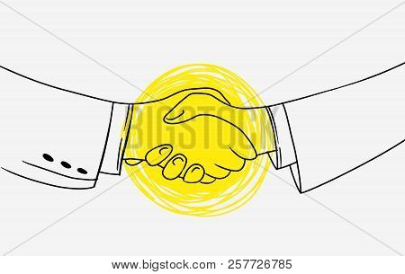 Business Handshake. Picture Contains Idea Of Unification Agreements And Cooperation. Emphasis Is Mad