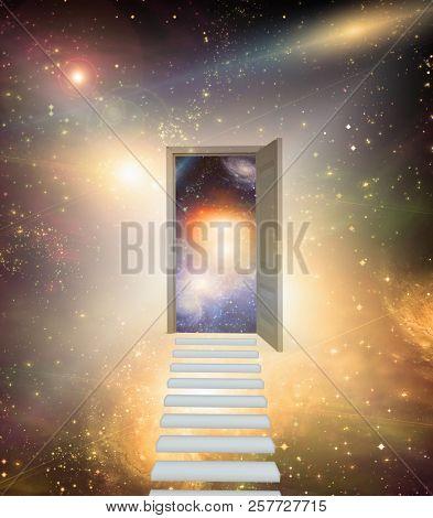 Open door in vivid space. 3D rendering