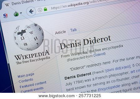 Ryazan, Russia - September 09, 2018 - Wikipedia Page About Denis Diderot On A Display Of Pc