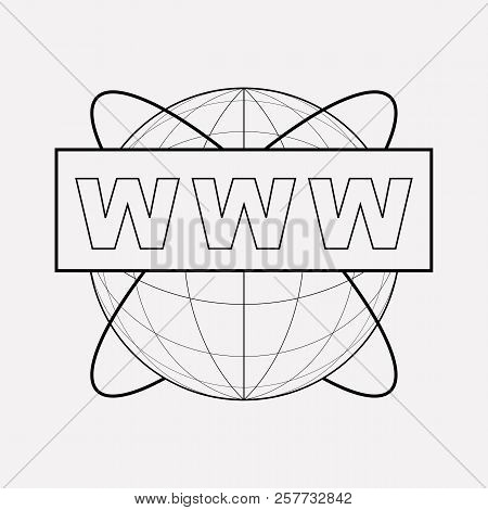 Www Address Icon Line Element. Vector Illustration Of Www Address Icon Line Isolated On Clean Backgr