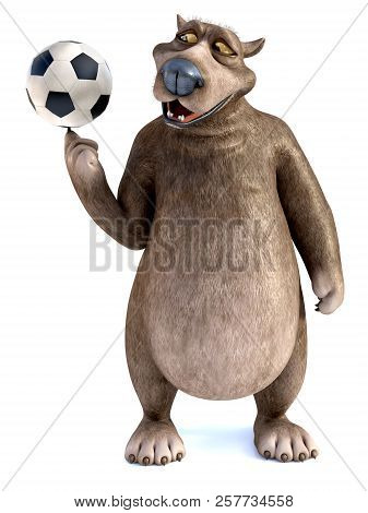3d Rendering Of A Charming Smiling Cartoon Bear Spinning A Soccer Ball On His Finger. White Backgrou