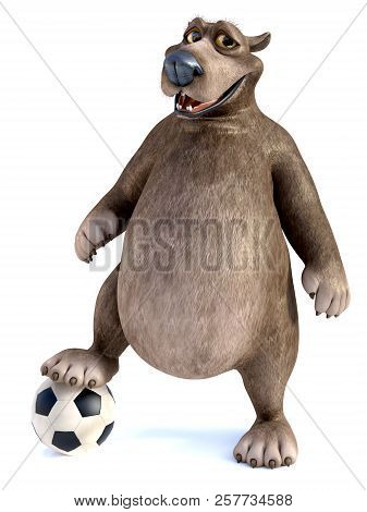 3d Rendering Of A Charming Smiling Cartoon Bear Posing With His Foot On A Soccer Ball. White Backgro