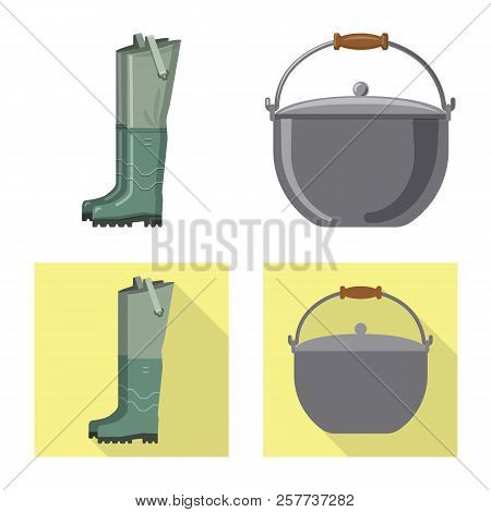 Vector Illustration Of Fish And Fishing Logo. Set Of Fish And Equipment Stock Vector Illustration.