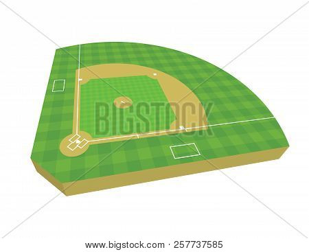 A 3d Baseball Field Isolated On A White Background Illustration. Vector Eps 10 Available.
