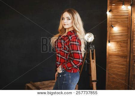 Beautiful And Fashionable Blonde Pluss-size Model Girl With Big Breast In Red Plaid Shirt And In A J