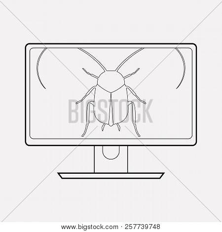 Software Bug Icon Line Element.  Illustration Of Software Bug Icon Line Isolated On Clean Background
