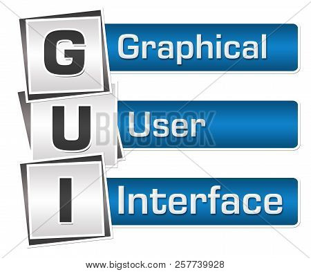 GUI - graphical user interface  text written over blue grey background. poster