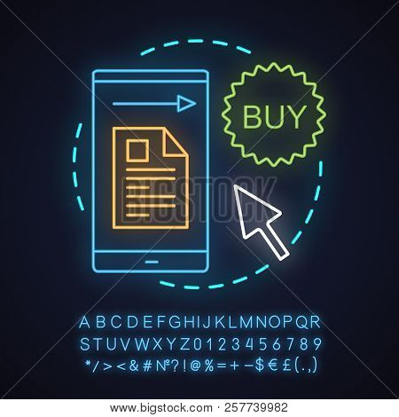 Order placing neon light concept icon. Online shopping idea. Merchandise. Glowing sign with alphabet, numbers and symbols. Vector isolated illustration poster