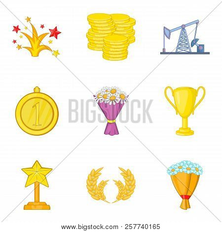 Winning Success Icons Set. Cartoon Set Of 9 Winning Success Icons For Web Isolated On White Backgrou