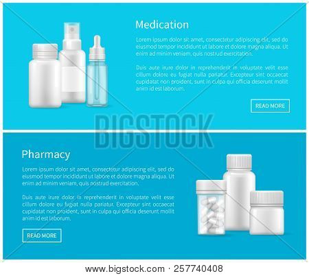 Medication And Pharmacy Set Of Web Posters Text Sample, Remedy Containers With Pills, Eye And Ear Dr