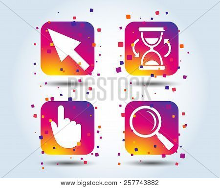 Mouse Cursor And Hand Pointer Icons. Hourglass And Magnifier Glass Navigation Sign Symbols. Colour G