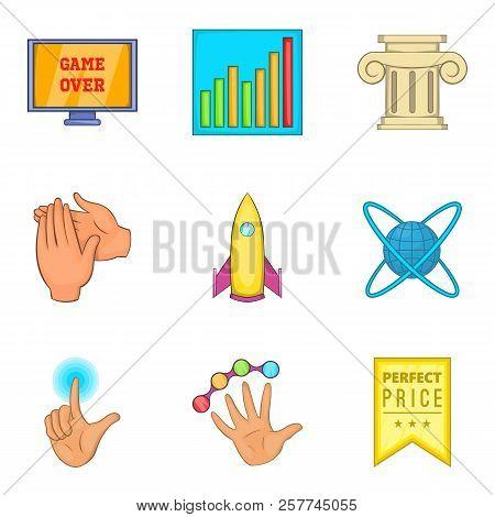 Honourable Mention Icons Set. Cartoon Set Of 9 Honourable Mention Icons For Web Isolated On White Ba