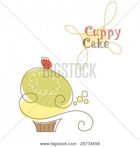 Retro cupcake, vector.