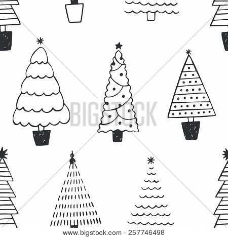 Seamless Pattern With Different Christmas Trees Or Spruces Drawn With Black Contour Lines On White B