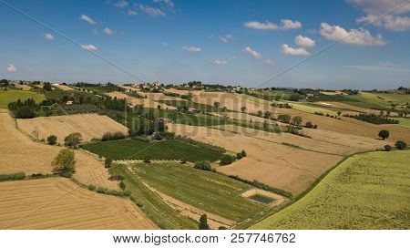 Panorama Of The Countryside In Coriano, Emilia Romagna Countryside, Italy