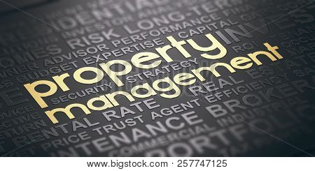 Word Cloud Over Black Background With The Text Property Management Witten In Golden Letters. Real Es