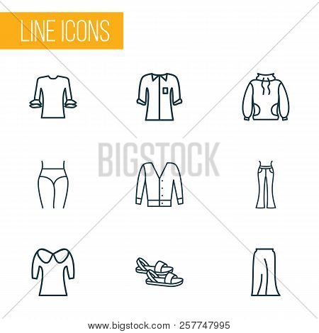 Fashionable Icons Line Style Set With Low Bias Roll, Flared Jeans, Puritan Collar And Other Elegant