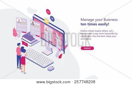 Web Banner Template With Man And Woman Standing In Front Of Computer Display And Looking Through Cvs