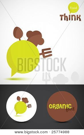 Conceptual illustration for 'think food'. Stylized Icon & business cards for Organic food. Vector EPS10.