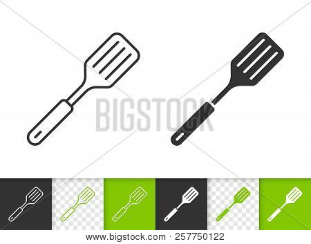 Spatula Black Linear And Silhouette Icons. Thin Line Sign Of Frying. Cooking Ware Outline Pictogram