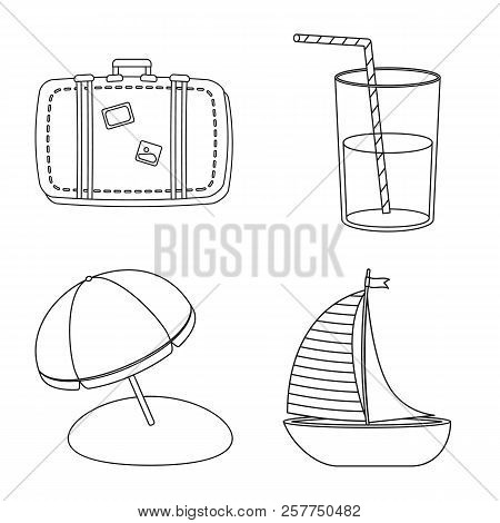 Vector Illustration Of Equipment And Swimming Logo. Set Of Equipment And Activity Stock Symbol For W