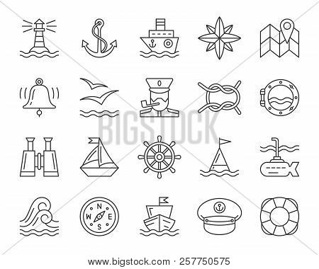 Marine Thin Line Icon Set. Outline Web Sign Kit Of Nautical. Sea Linear Icons Includes Anchor, Knot,