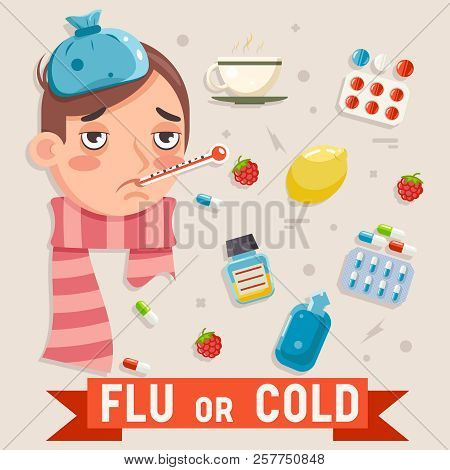 Cold Flu Disease Illness Sickness Medicine Flat Design Vector Illustration