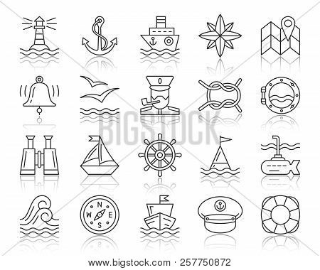 Marine Thin Line Icons Set. Outline Web Sign Kit Of Nautical. Sea Knot Linear Icon Collection Boat,