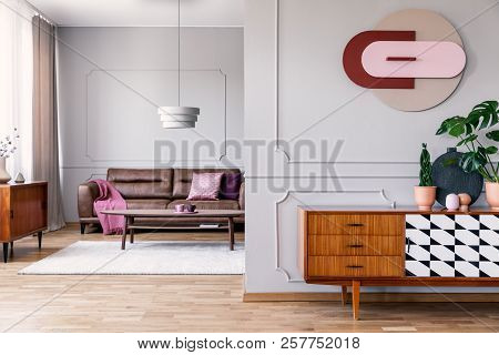 Plants On Wooden Cupboard In Open Space Interior With Poster And Leather Settee With Blanket. Real P