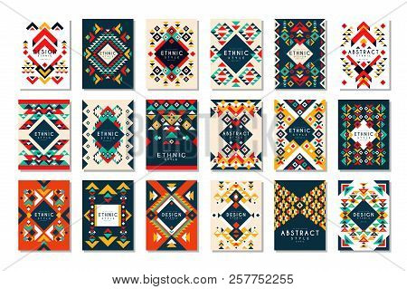Colorful Vector Set Of 9 Card Templates With Geometric Shapes. Abstract Ethnic Pattern. Elements For