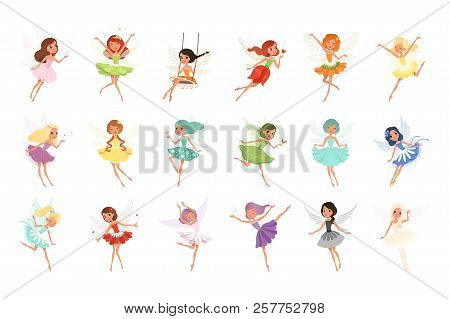 Colorful Set Of Fairies In Flying Action. Little Creatures With Colorful Hair And Wings. Mythical Fa