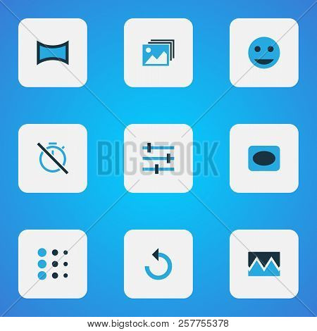 Image Icons Colored Set With Broken Image, Chronometer, Vignette And Other Smile Elements. Isolated