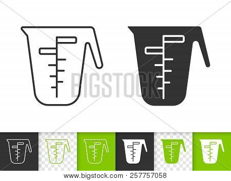 Measuring Cup Black Linear And Silhouette Icons. Thin Line Sign Of One Liter. Glass Outline Pictogra