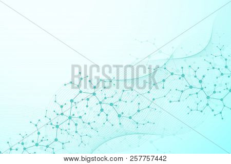 Abstract Futuristic Background Molecules Technology With Polygonal Shapes On Dark Blue Background. D
