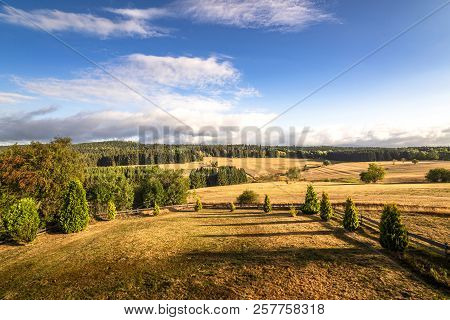 Beautiful View Of A Landscape With Dry Plains And Green Forest In The Summer