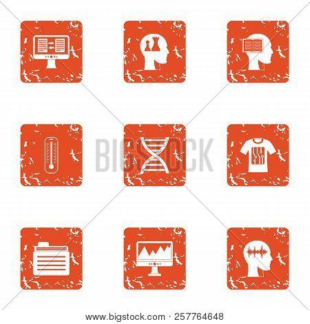 Survey Icons Set. Grunge Set Of 9 Survey Icons For Web Isolated On White Background
