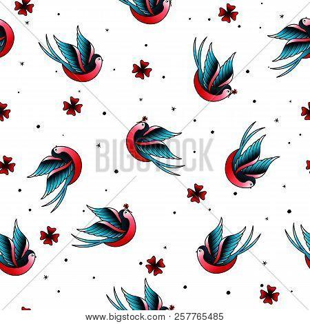 Old School Vintage Doodle Tattoo Swallow Seamless Pattern.oldschool Tattooings Birds, Four-leaf Clov