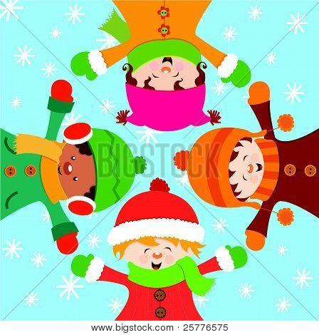 Kids Celebrating Snow