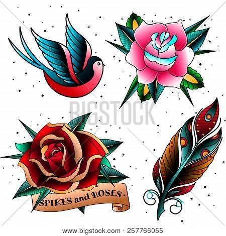 Colorful Old School Vintage Doodle Tattoo Templates Sketches Set.oldschool Tattooings Swallow, Feath