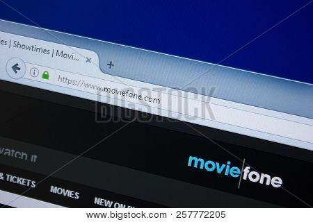 Ryazan, Russia - September 09, 2018: Homepage Of Movie Fone Website On The Display Of Pc, Url - Movi