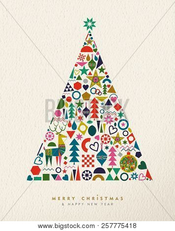 merry christmas and happy new year card illustration of vintage geometric icons in winter pine tree
