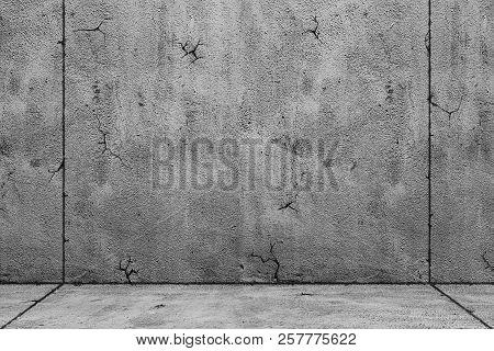 Blank Concrete Wide Dark Wall Texture Background