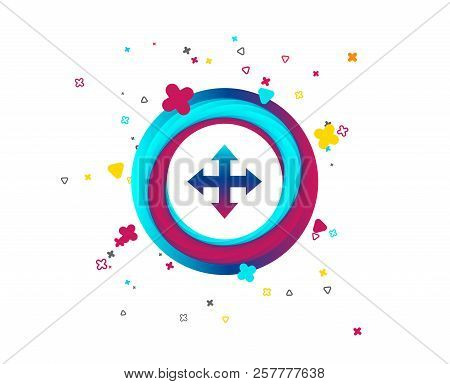 Fullscreen Sign Icon. Arrows Symbol. Icon For App. Colorful Button With Icon. Geometric Elements. Ve