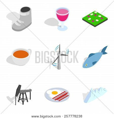 Heating Period Icons Set. Isometric Set Of 9 Heating Period Icons For Web Isolated On White Backgrou